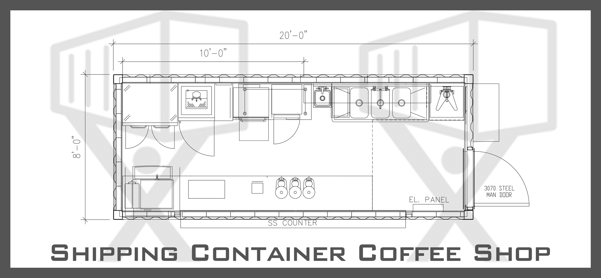 Container coffee shop floor plan